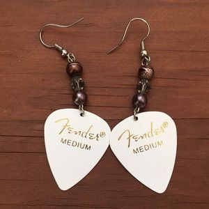 Jewelry - Unique fender guitar pic earrings